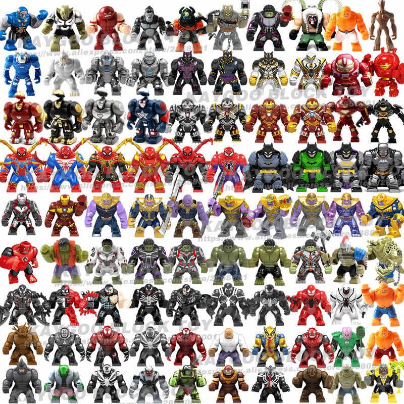 Duże duże figurki klocki do budowy superbohater Thanos Hulk Iron Spider-man Hulk Batman czarna pantera Croc Bane Venom zabawki dla dzieci