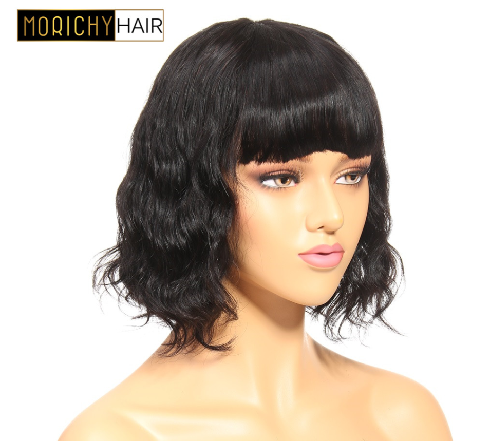 Morichy Human Hair Wavy Wig With Bangs For Women Short Human Hair Bob Wig Brazilian Non-Remy Wigs Natural Color Free Shipping
