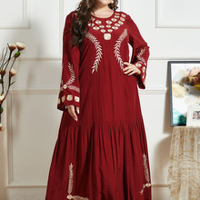 Dress Fashion Embroidery Muslim Round-Neck Large-Size Breathable Casual Simple