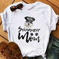 Футболка Schnauzer mom женская, винтажная тенниска с рисунком белой собаки, подарок любимому, летний топ, одежда с графическим принтом