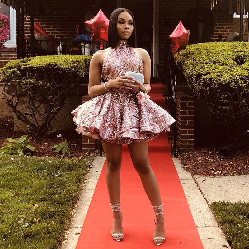 Pink Halter Mini Cocktail Party Dresses Backless Sequined Ruffles Homecoming Dress Tier Skirt Africal Girls Club Wear
