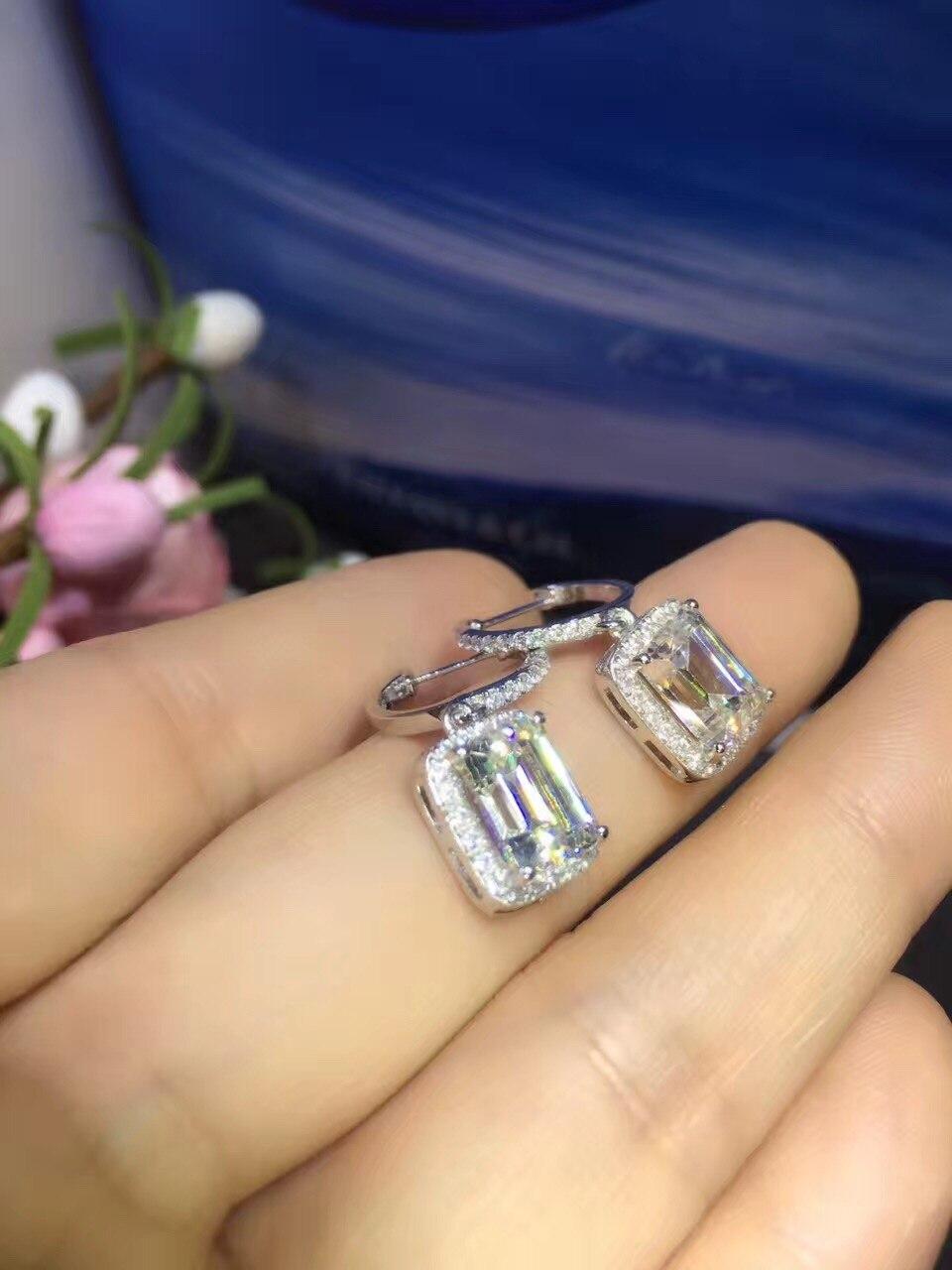 TE208 luxe 2 Carats SONA synthétique gemme Halo clouté boucles d'oreilles de mariage, promesse Propose boucle d'oreille,