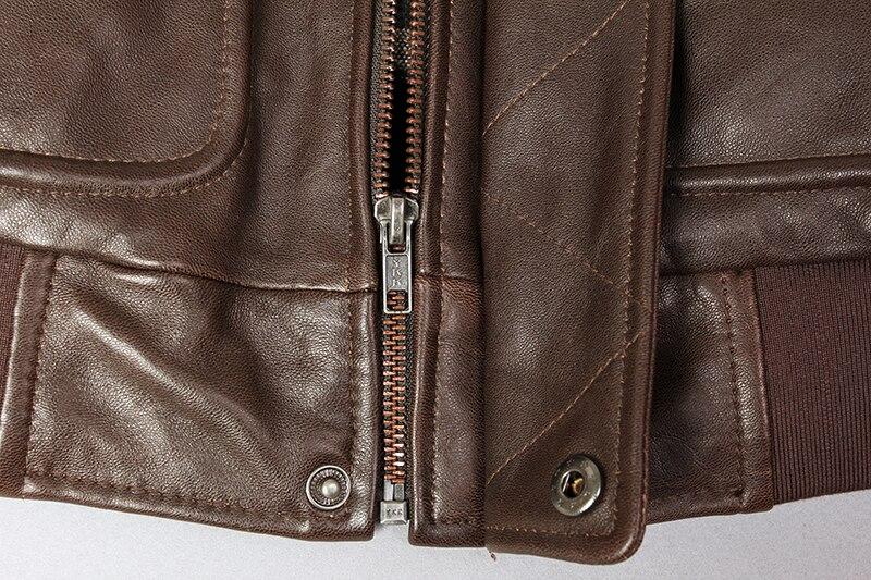 H6b6a2246742d4d2a919c77b16690045fG Military air force flight jacket fur collar genuine leather jacket men winter dark brown sheepskin coat pilot bomber jacket