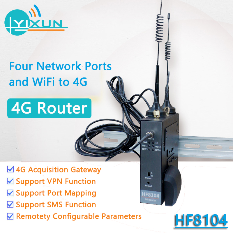 RJ45 4G Router Ethernet WiFi To Server Device HF8104 4G 3G GPRS 4 Port For Linux System Industrial Wireless Router SMS VPN