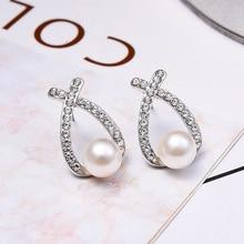 Simple Temperament Lady Faux Pearl Earrings Bow Inlaid Rhinestone Personality Wild Simple Earring Fashion Women Ear Jewelry H8WF