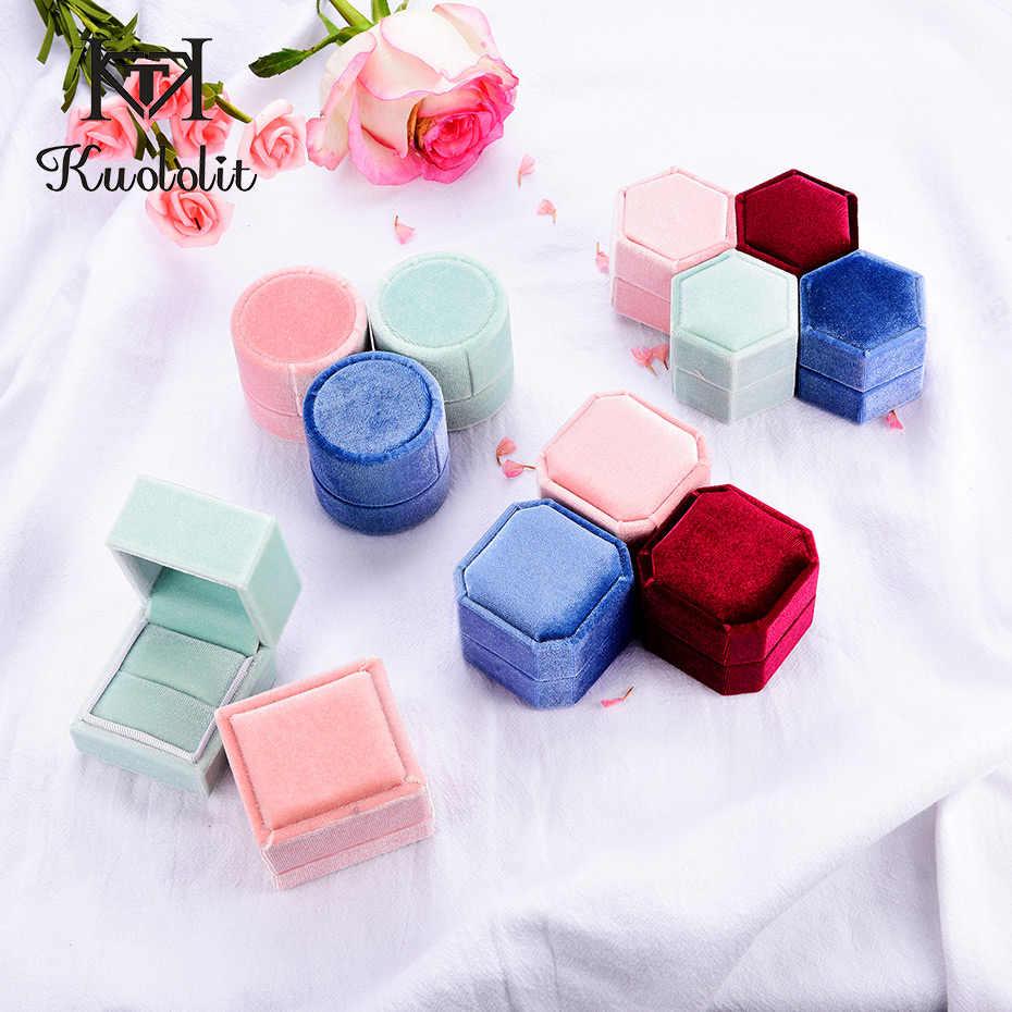 Kuololit Groothandel Fluwelen Ring Box Voor Vrouwen Roze Groen Blauw Rood Hexagon Octagon Ronde Rechthoek Sieraden Dozen Voor Engagement