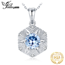 JewelryPalace Natural Blue Topaz Pendant Necklace 925 Sterling Silver Gemstones Choker Statement Women Without Chain