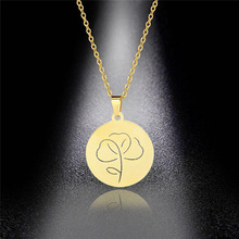 Stainless Steel Necklace Plant Leaf Pendant Clavicle Chain Women's Round Creative Leaf Pendant Hot Sale
