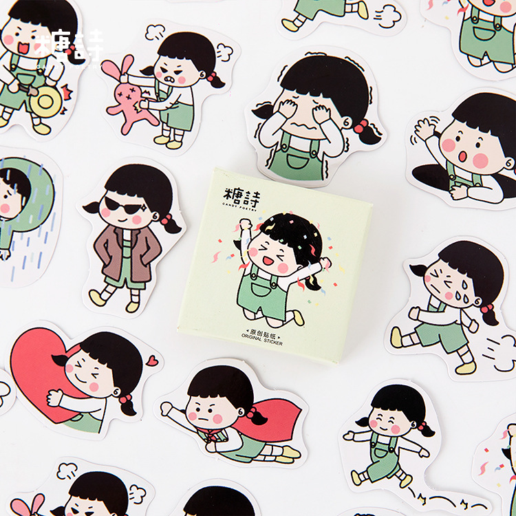 45Pcs/Pack Strap Girl Sticker For Kids DIY Diary Scrapbooking Photo Ablums