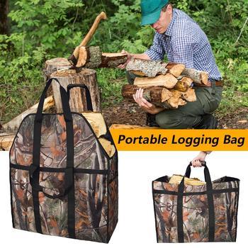 Bolsa de lona de gran capacidad, bolsa de almacenamiento de leña, bolsa de corte, soporte para acampar al aire libre, bolsa de almacenamiento Casa, cocina Sup