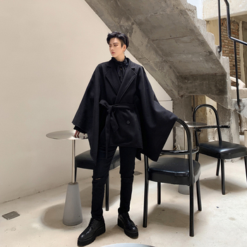 Male Streetwear Vintage Hip Hop Gothic Sashes Outerwear Coat Stage Clothing Men Winter Oversize Loose Casual Woolen Cloak Jacket