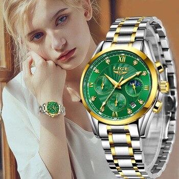 New LIGE Gold Women Watch Business Quartz Watch Ladies Top Brand Luxury Female Wrist Watch Girls Clock Relogio Feminin 2020+Box
