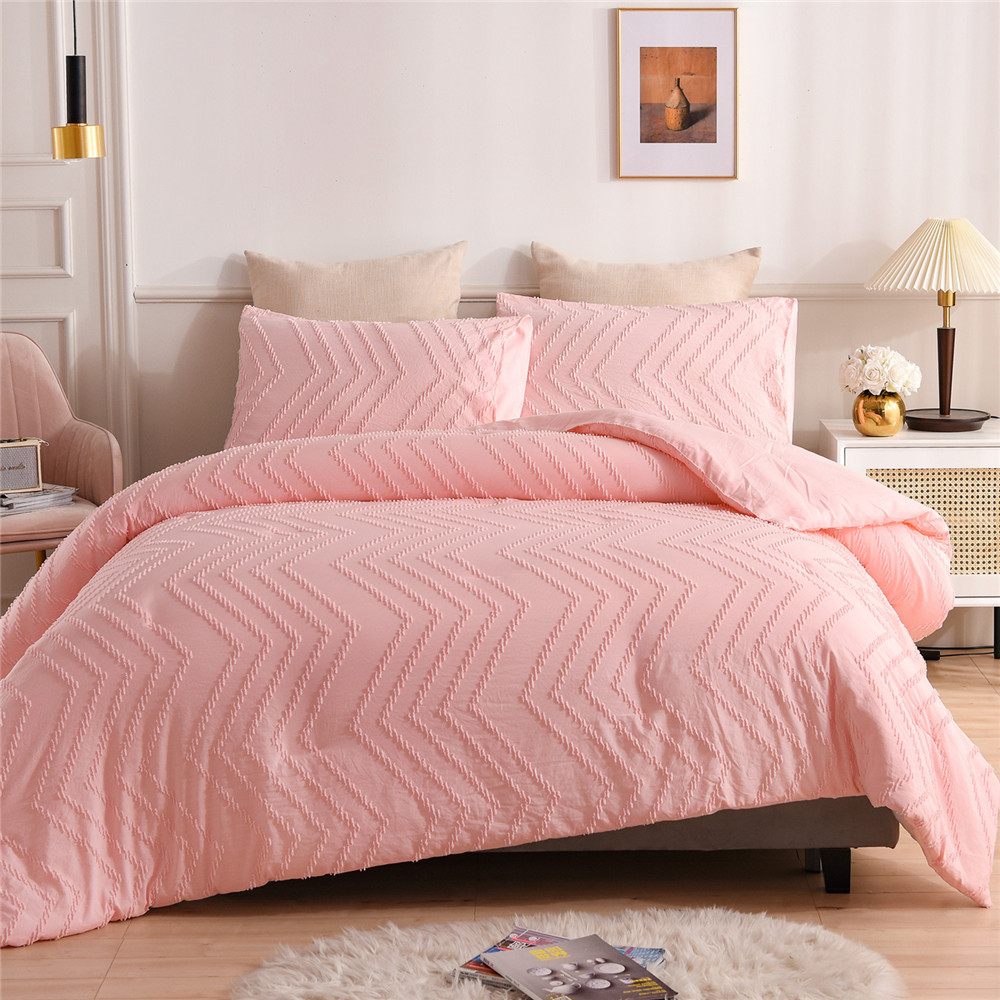 Luxury Bedding Set Solid Color Pinch Pleat Art Work Duvet Cover With Pillowcase White Grey Bed Cover NO SHEET Queen King