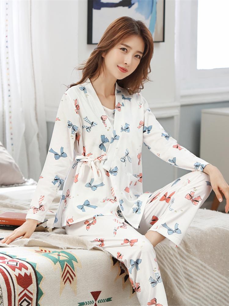Sleepwear Suits Pajamas Breastfeeding-Nightwear Pregnant-Women Maternity-Nursing Print