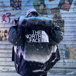 The North Face TNF Men Mid-Length Down Jacket Dark Night Starry Sky Men's Cotton Jacket Printing
