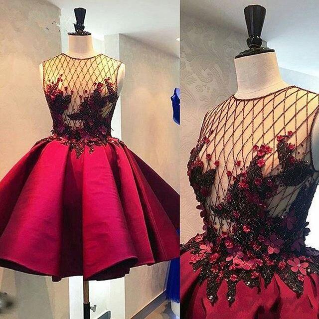 Abiye kryształ 3D kwiat krótkie suknie balowe Illusion wino czerwone bufiaste sukienka koktajlowa moda formalne sukienki na przyjęcie 2020 Abendkleider