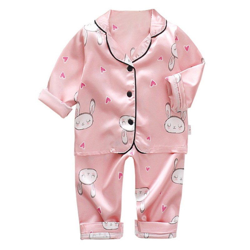 Pajamas Set Suit Spring Long-Sleeve Girls Kids Boys Summer Homewear Silk Stain Soild title=