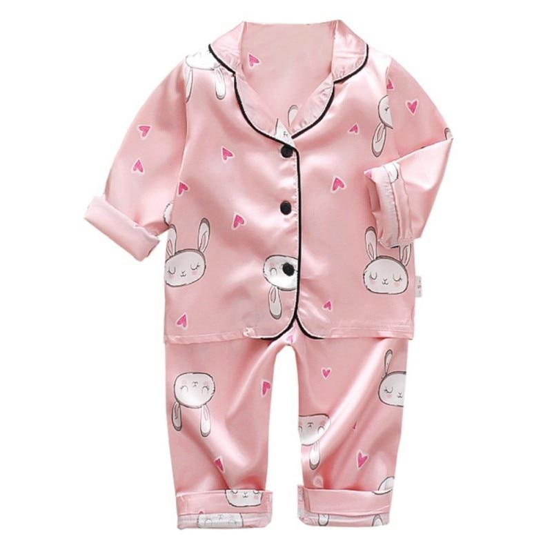 Spring Children Pajamas Suit 2019 Summer Kids Soild Silk Pajamas Set Boys Homewear Stain Girls Long Sleeve Pyjamas Set