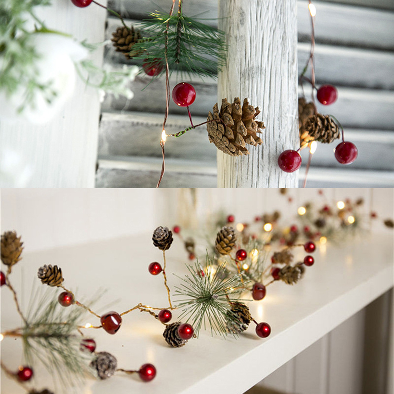78.7in Christmas Lights Party LED String Lights Holiday Garland Home Decor Christmas Pine Cones Beads Star Led Lights Decoration