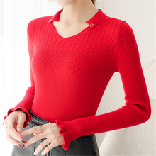 Korean Autumn Women Sweater Woman Knit Sweaters Flare Sleeve V Neck Plus Size XL Stretch Pullovers