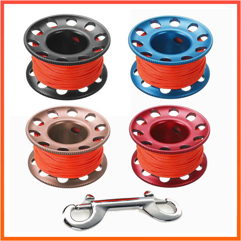 Scuba Diving Aluminum Alloy Spool 15/30m With Stainless Steel Bolt Snap Hook SMB Safe Equipment BCD Accessory