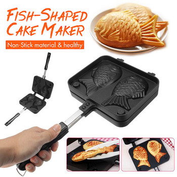 Home Japanese Non-Stick Taiyaki Waffle Pan Fish-Shaped Frying Pan Bakeware Waffle Cake Maker 2 Molds Pancake Baking Tools Cooker