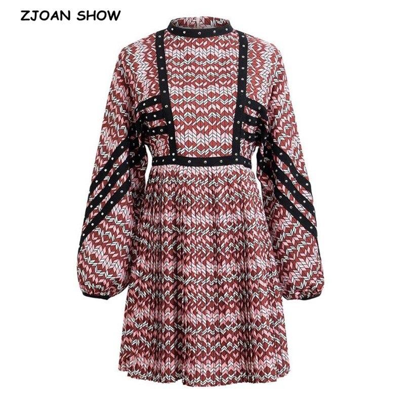 2020 Retro Stand Collar Spliced Rivets Wave Striped Pleated Mini Short Dress Woman Back Zipper Lartern Long Sleeve Dresses