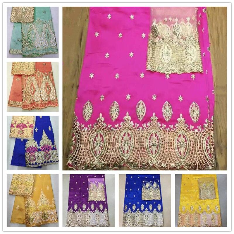 Ev ve Bahçe'ten Dantel'de Popüler afrika dantel tasarımlar elbise için afrika George dantel kumaş yüksek kalite hint ipek George dantel 5 Yards ile 2 Yards tül dantel'da  Grup 1