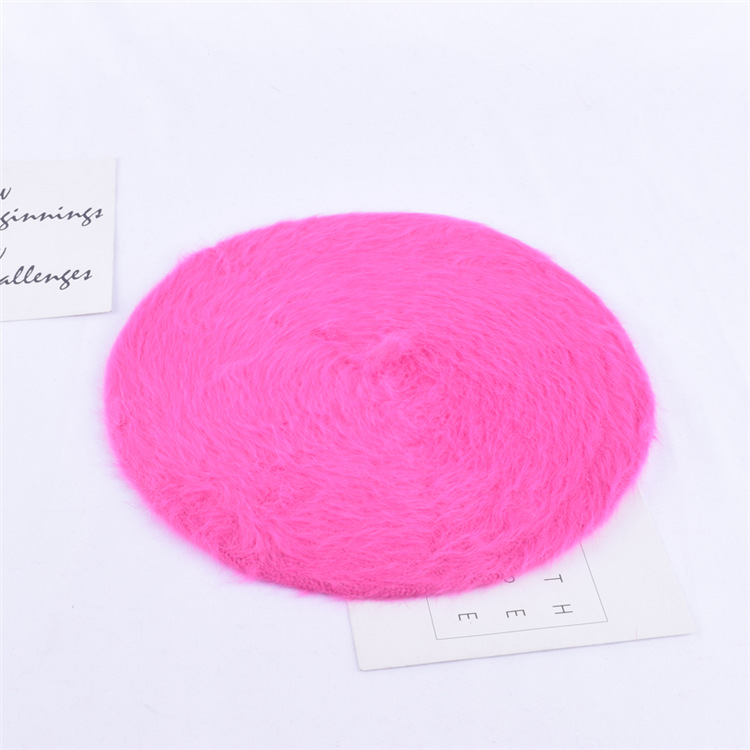 1 шт. женская элегантная разноцветная Шапка-берет из меха кролика - Цвет: rose red