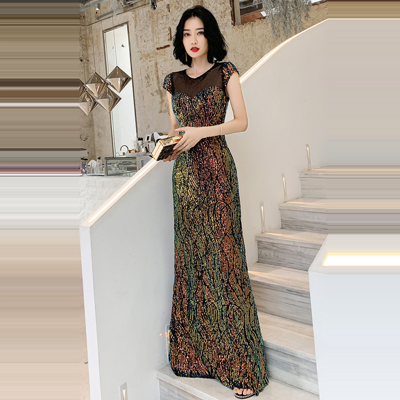 Evening     Dress   O-neck Short Sleeve Robe De Soiree Floor Length Sequined Women Party   Dresses   Sexy Hollow   Evening   Gowns 2019 F219