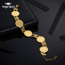 Золотистый браслет с монетами Аллах, Исламские мусульманские Арабские монеты, браслет для женщин и мужчин, блестящие подарки
