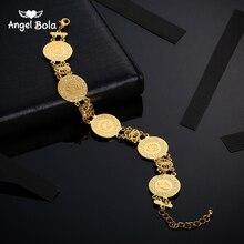 Gold Farbe Allah Münze Armband Islamischen Muslimischen Arabischen Münzen Armband für Frauen Männer Mittleren Östlichen Schmuck Geschenke Nie Verblasst