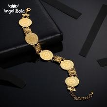 Pulsera de moneda de Color dorado para hombre y mujer, brazalete de monedas árabe musulmán islámico, joyería del Medio Oriente, regalos que nunca se desvanecen