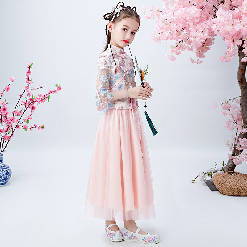 Chinese-style Children Chinese Clothing Girls Ancient Costume Immortal Autumn And Winter Little Girl Antique Style Cheongsam 201