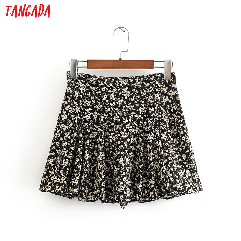 Tangada Women Print Pleated Skirts Shorts 2020 Summer Female Sweet Casual Shorts 3H578