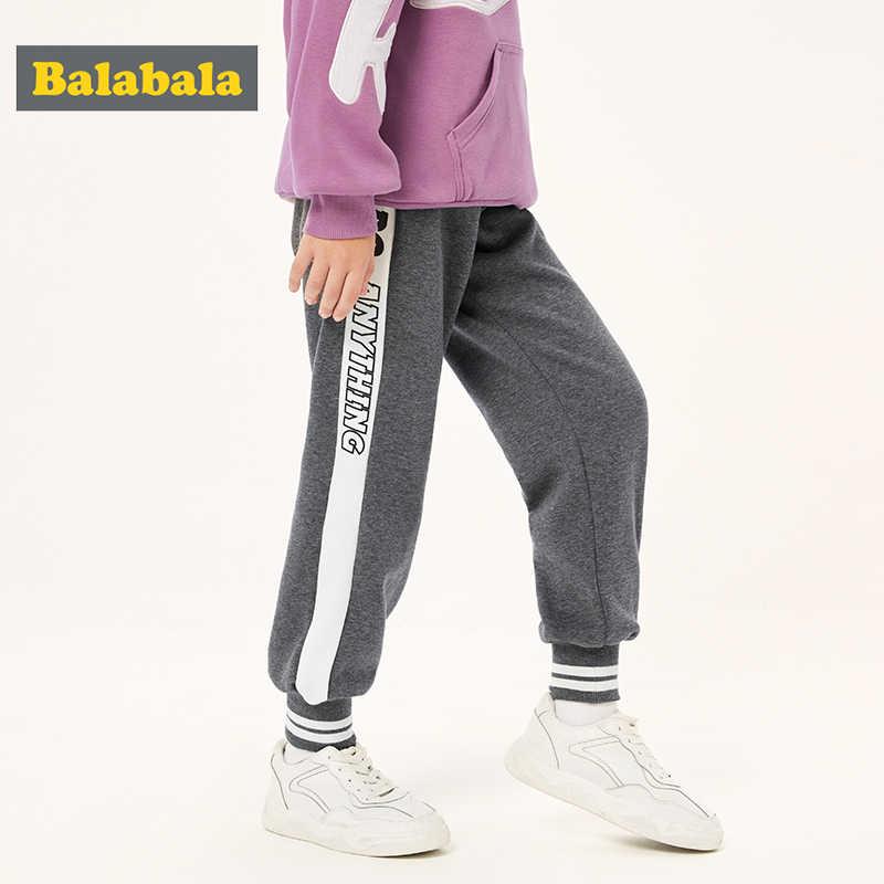 Balabala crianças roupas meninas calças mais veludo quente calças esportivas 2019 novo outono e inverno grande moda