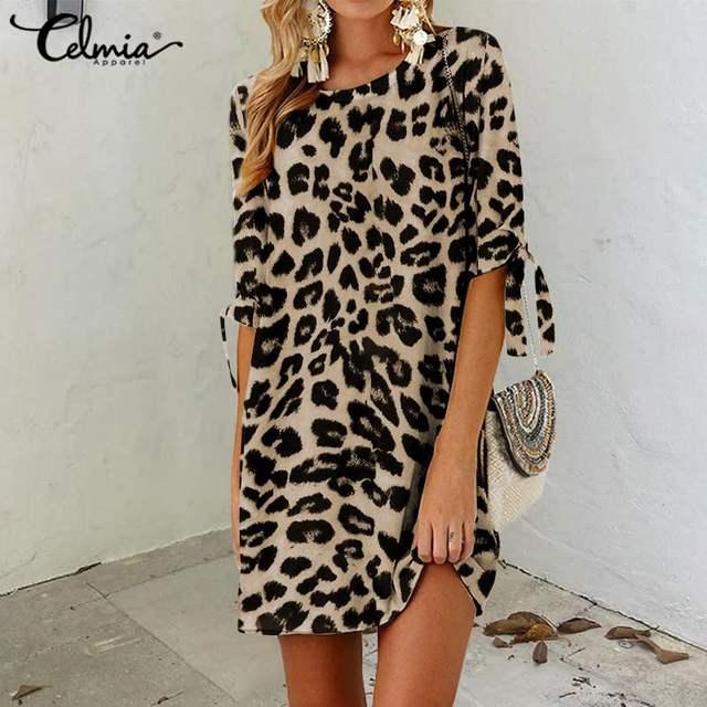 Celmia Sexy Leopard Print Mini Kleid Frauen Sommer Strand Vestidos Halbe Hülse Beiläufige Lose Böhmischen Sommerkleid Robe Plus Größe 5XL