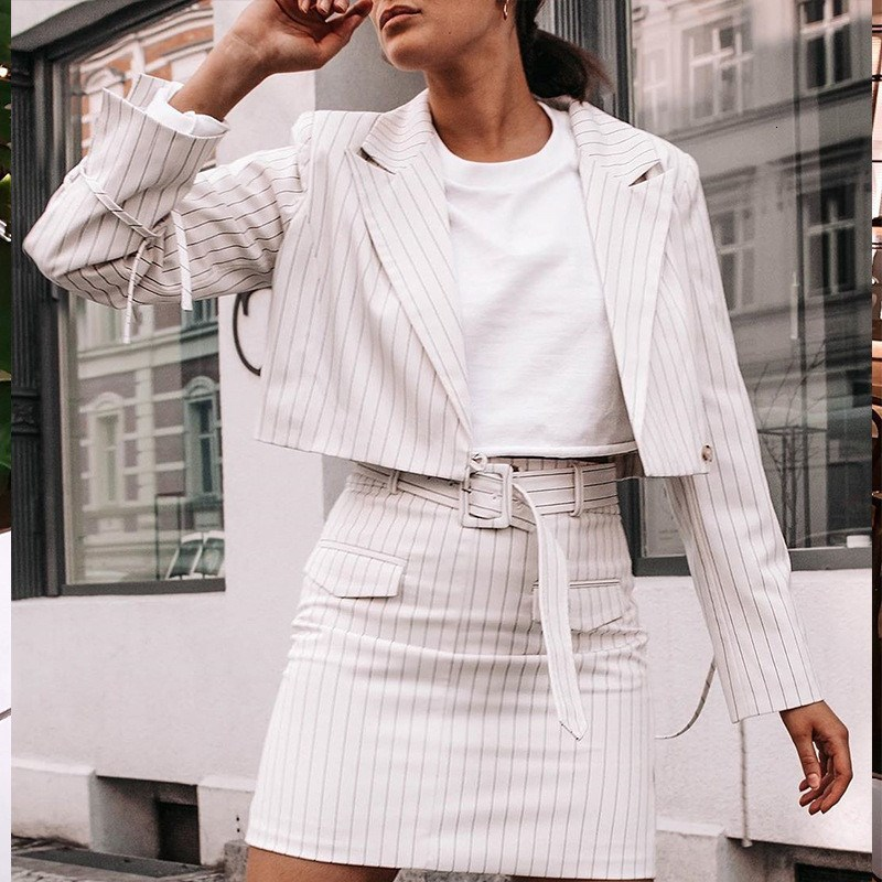 Striped White Office Clothes Lady Skirt Suit Blazer Sets Women Autumn Streetwear Jacket Belt Work 2 Piece Set