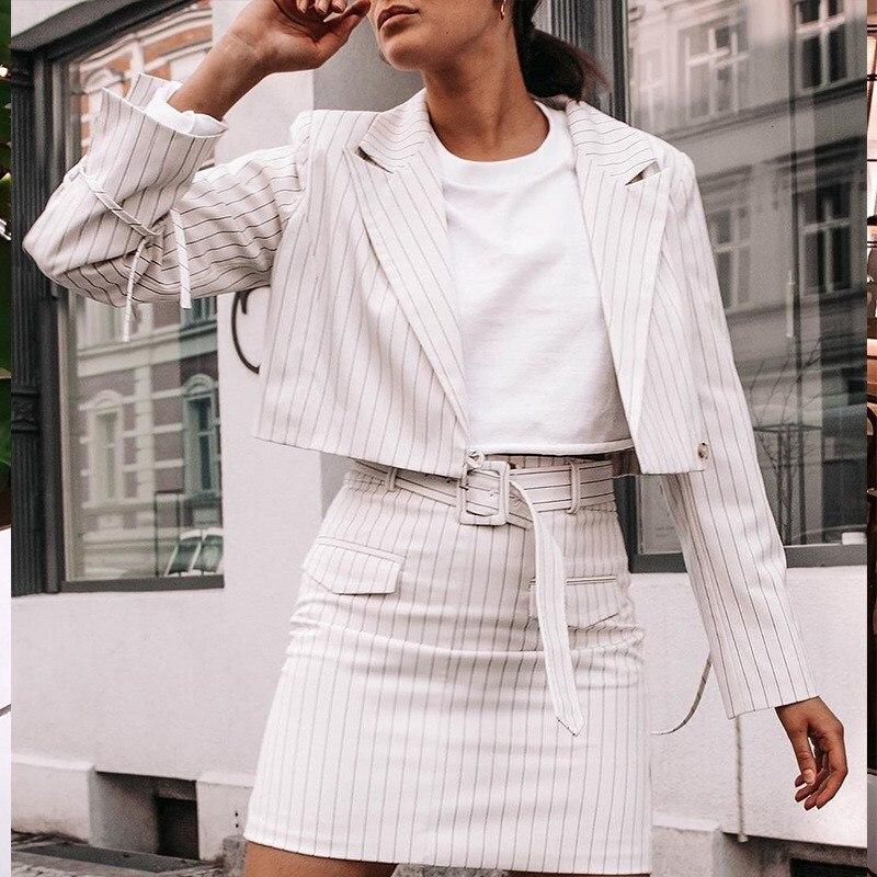 Striped White Office Clothes Lady Skirt Suit Blazer Sets Women Autumn Streetwear Jacket Belt Work 2 Piece Set