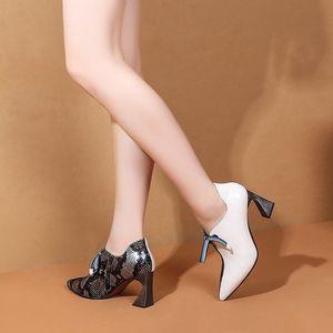 Image 5 - ALLBITEFO/модная цветная обувь из натуральной кожи на высоком каблуке; Очаровательная обувь для отдыха на высоком каблуке; Новинка; Весенняя Офисная Женская обувь; женская обувь на каблуке