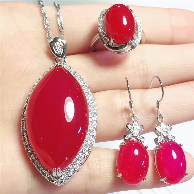 Jadery Trendy Natural Red Chalcedony Jade Jewelry Sets For Women Wedding Silver 925 Jewelry 2019 bijoux Gifts Black Friday deals