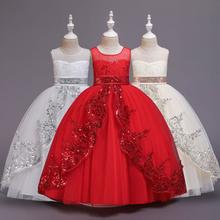 Dziewczynka sukienka koronkowa cekinowa księżniczka sukienka suknia ślubna sukienka dziewczyna wybieg sukienka dziewczyna ubranie z pokazu puszysta siatkowa dziewczęca sukienka w kwiaty tanie tanio NoEnName_Null Floral Bez rękawów REGULAR Śliczne Łuk Pasuje prawda na wymiar weź swój normalny rozmiar elegant Dla dzieci