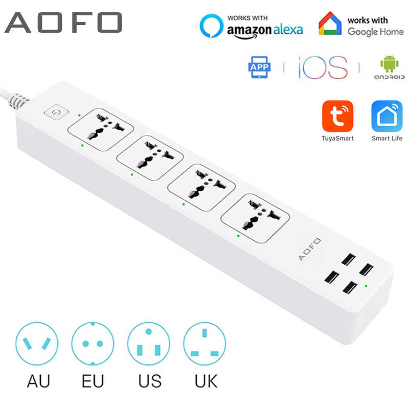 Universal Smart Power Strip Wifi Werkt Met Alexa, Googlehome, multi Plug Met 4 Ac Outlets & 4 Usb Opladen Poorten, Voice Control