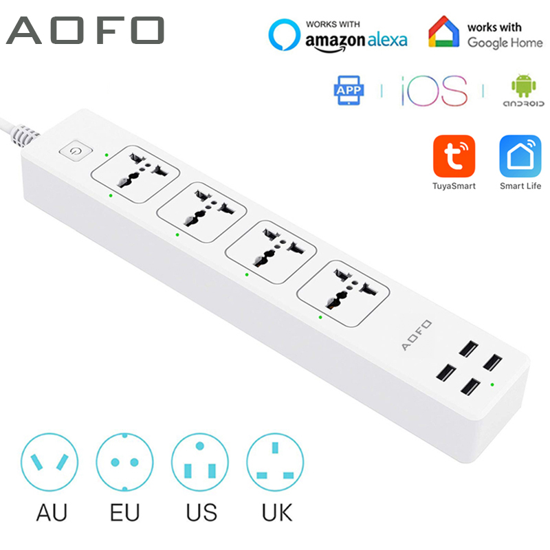 Universal Smart Power Strip WiFi Works with Alexa GoogleHome Multi Plug with 4 AC Outlets  amp  4 USB Charging PortsVoice Control