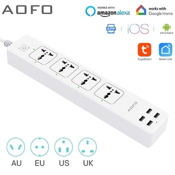 Универсальная умная лента питания, Wi-Fi, работает с Alexa, GoogleHome, с 4 выходами переменного тока и 4 usb-портами для зарядки, голосовым управлением