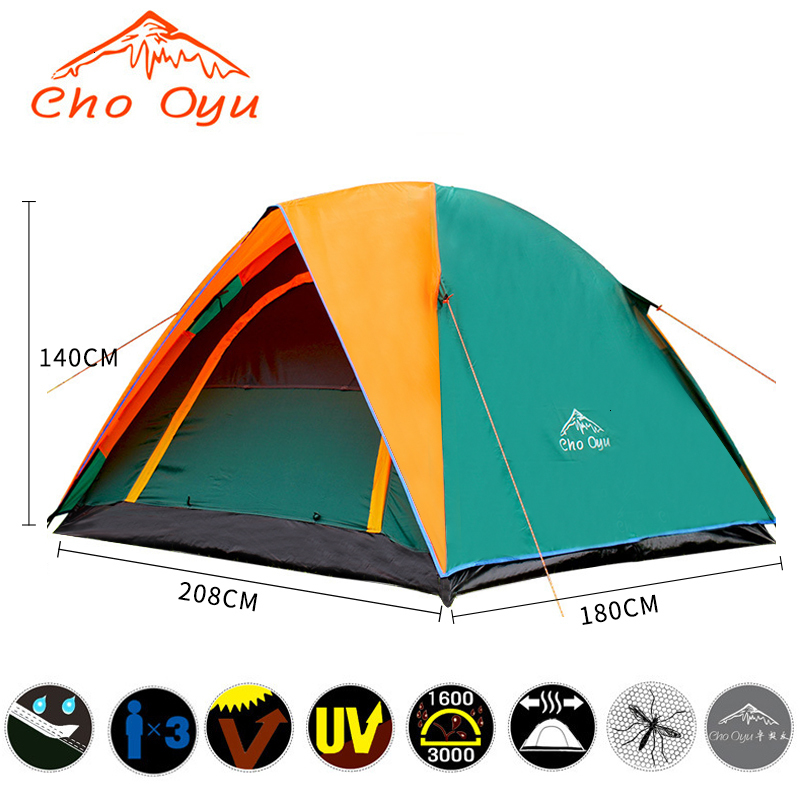 3-4 Person Windbreak Camping Tent Dual Layer Waterproof Pop Up Open Anti UV Tourist Tent For Outdoor Hiking Beach Travel Camping (4).jpg
