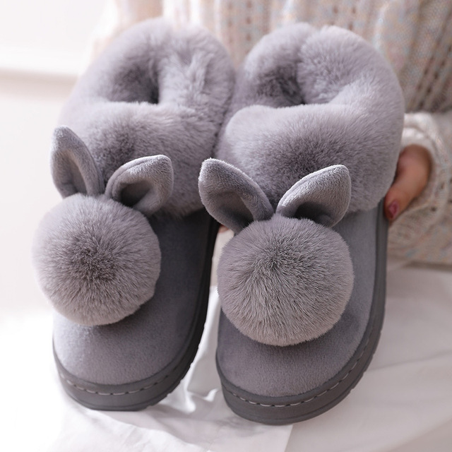 2021 New Fashion Autumn Winter Cotton Slippers Rabbit Ear Home Indoor Slippers Winter Warm Shoes Womens Cute Plus Plush Slippers 2