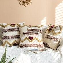 Funda de cojín estilo marroquí Tuft hecha a mano Decoración Para funda de almohada 45x45cm para sofá cama Vintage Zigzag café