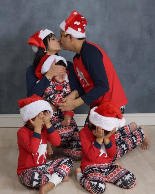 Family Christmas Pajamas Set Warm Adult Kids Girls Boy Mommy Sleepwear Nightwear Mother Daughter Clothes Matching Family Outfits 1