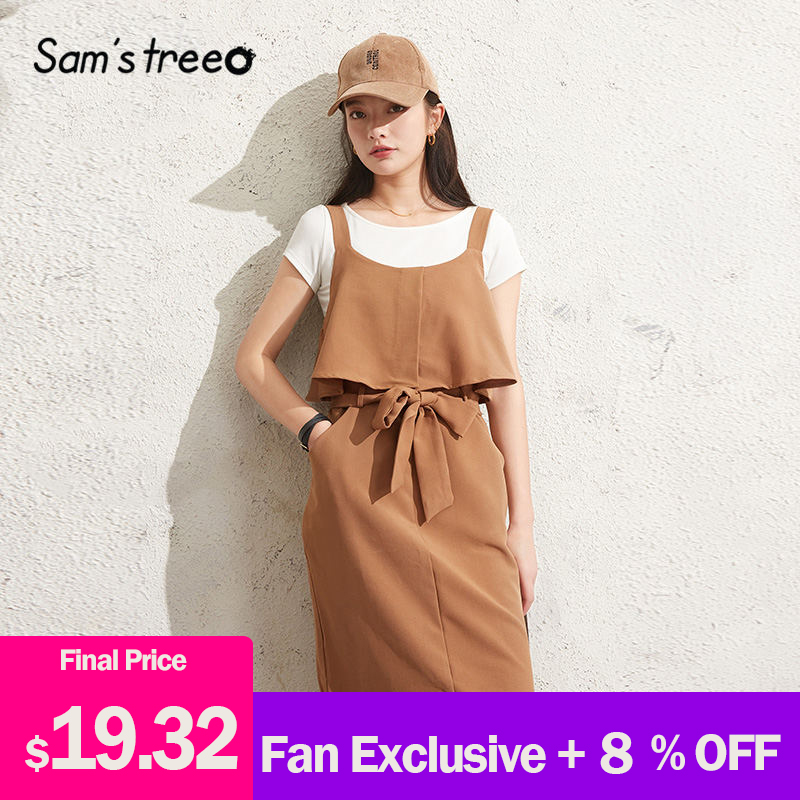 SAM'S TREE Brown Solid Ruffles Casual Women Two Pieces Sets 2020 Spring New Bow Lace Up Short Sleeve Female Korean Matching Sets